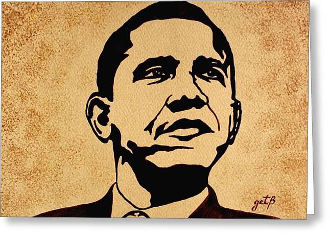 Barack Obama Original Coffee Painting Greeting Card by Georgeta  Blanaru