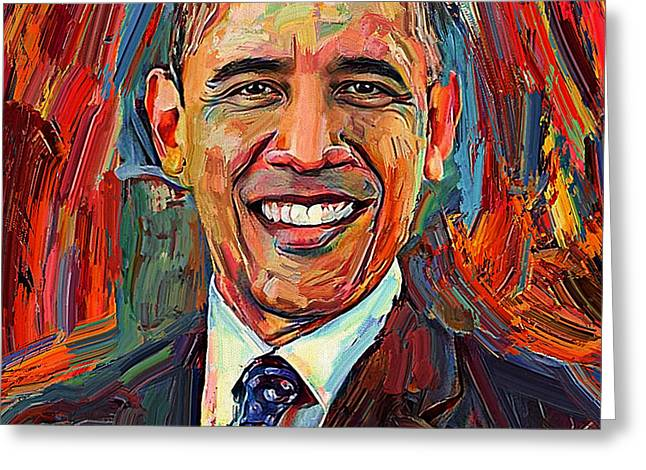 Barack Obama Portrait 2 Greeting Card by Yury Malkov