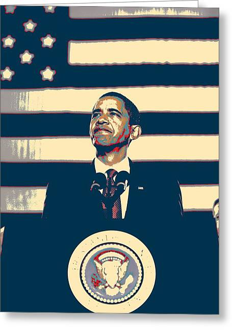 Barack Obama With American Flag 4 Greeting Card by Celestial Images