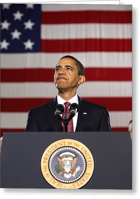 Barack Obama With American Flag Greeting Card