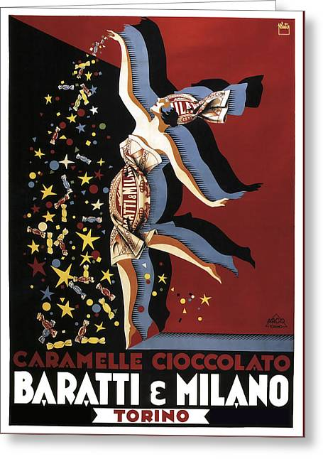 Baratti And Milano Chocolate C. 1920 Greeting Card by Daniel Hagerman