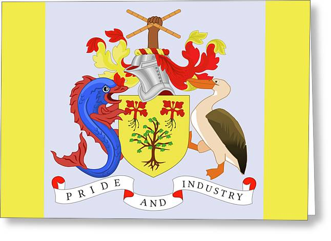 Greeting Card featuring the drawing Barbados Coat Of Arms by Movie Poster Prints