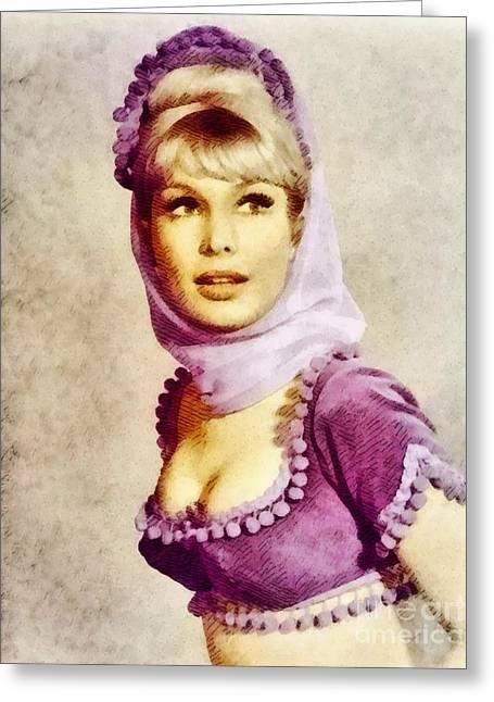 Barbara Eden, Vintage Actress By John Springfield Greeting Card by John Springfield