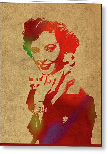 Barbara Stanwyck Watercolor Portrait Greeting Card by Design Turnpike