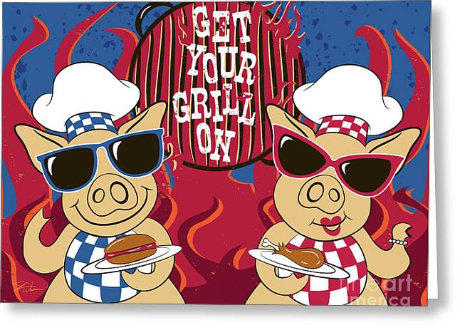 Barbecue Pigs Greeting Card