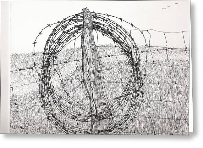 Barbed Coil Greeting Card by Pat Price