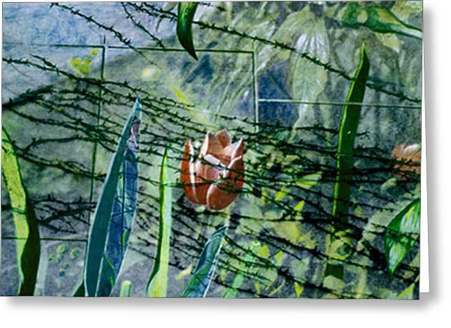Barbed Vine Greeting Card by Nancy  Ethiel