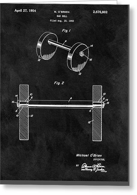 Barbell Patent Greeting Card by Dan Sproul