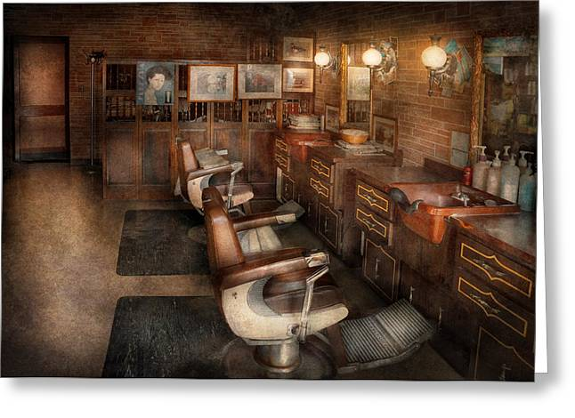 Barberchair Greeting Cards - Barber - Clinton NJ - Clinton Barbershop  Greeting Card by Mike Savad