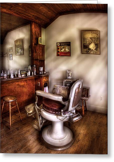 Barberchair Greeting Cards - Barber - In The Barber Shop  Greeting Card by Mike Savad