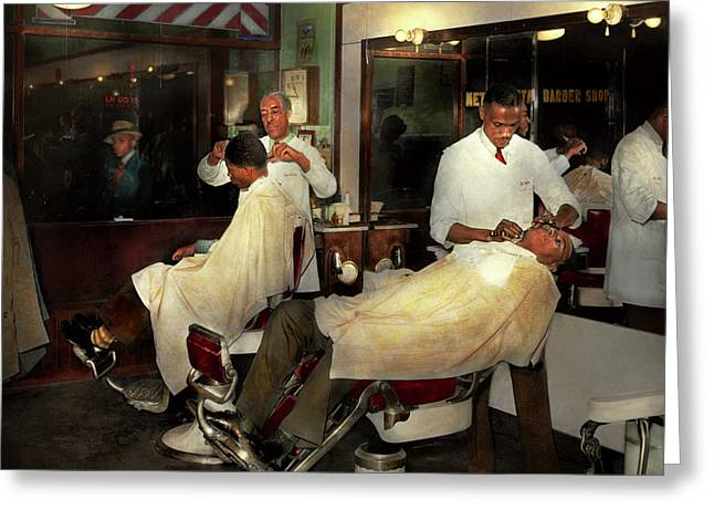 Greeting Card featuring the photograph Barber - A Time Honored Tradition 1941 by Mike Savad