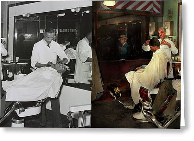 Greeting Card featuring the photograph Barber - A Time Honored Tradition 1941 - Side By Side by Mike Savad