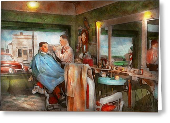 Barber - Getting A Trim 1942 Greeting Card
