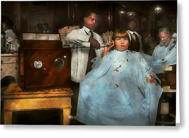Barber - Portable Music Player 1921 Greeting Card by Mike Savad