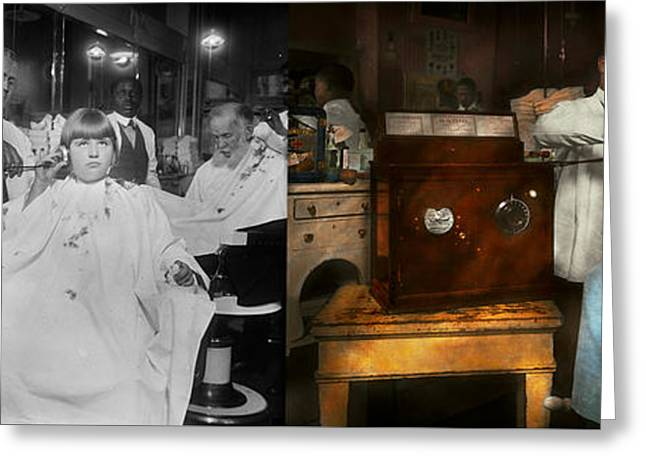 Barber - Portable Music Player 1921 - Side By Side Greeting Card by Mike Savad