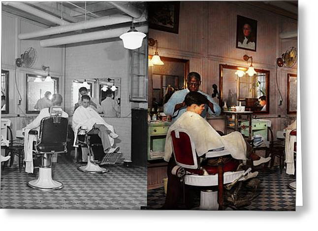 Greeting Card featuring the photograph Barber - Senators-only Barbershop 1937 - Side By Side by Mike Savad