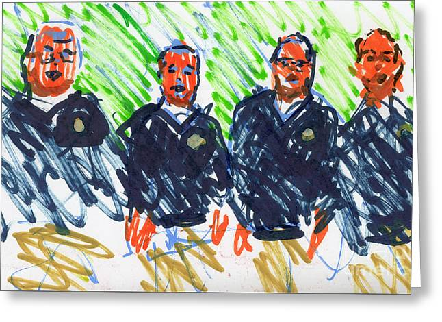 Barber Shop Quartet Greeting Card by Candace Lovely