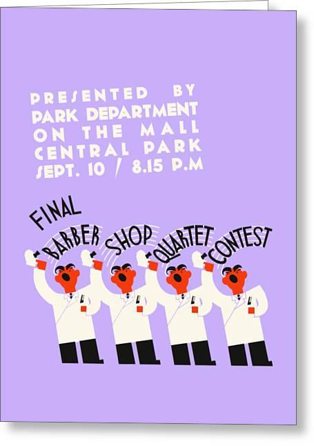 Barber Shop Quartet Song Contest Greeting Card by Heidi De Leeuw