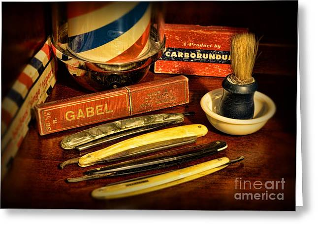 Barber - Vintage Barber Greeting Card by Paul Ward