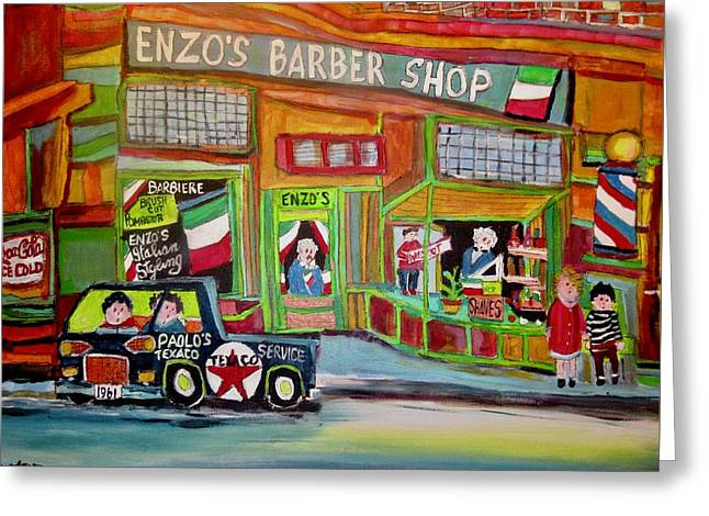 Barbiere Enzo Barber Greeting Card by Michael Litvack