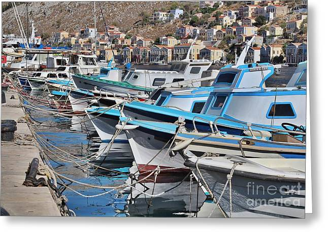 Harbour Of Simi Greeting Card