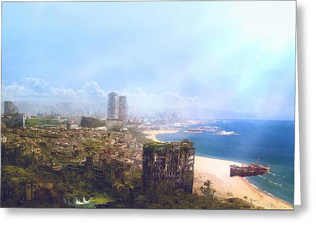 Barcelona Aftermath La Barceloneta Greeting Card by Guillem H Pongiluppi