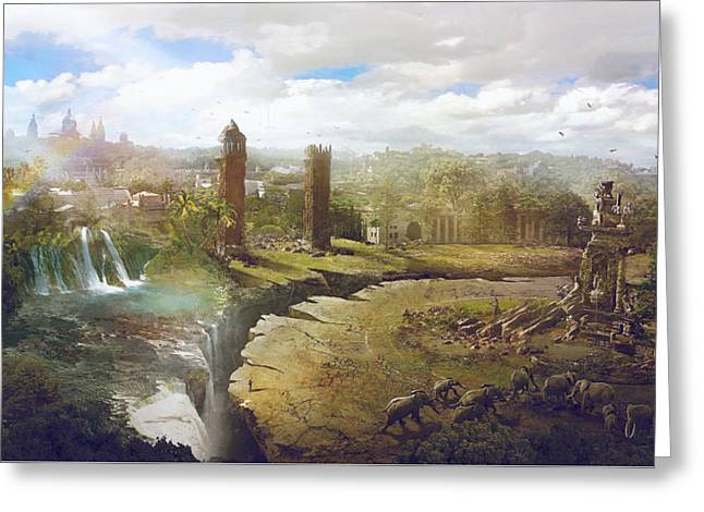Barcelona Aftermath La Placa Espanya Greeting Card by Guillem H Pongiluppi