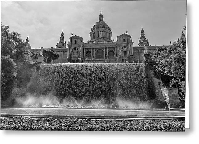 Barcelona Art Museum And Fountains Greeting Card by Georgia Fowler