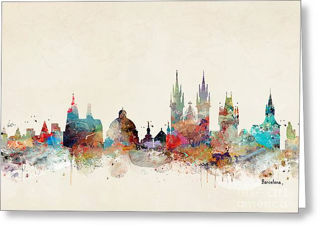 Greeting Card featuring the painting Barcelona City Skyline by Bri B