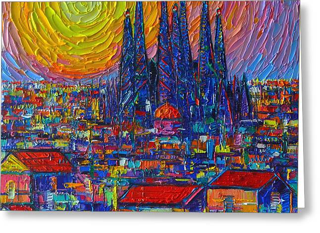 Barcelona Colorful Sunset Over Sagrada Familia Abstract City Knife Oil Painting Ana Maria Edulescu Greeting Card