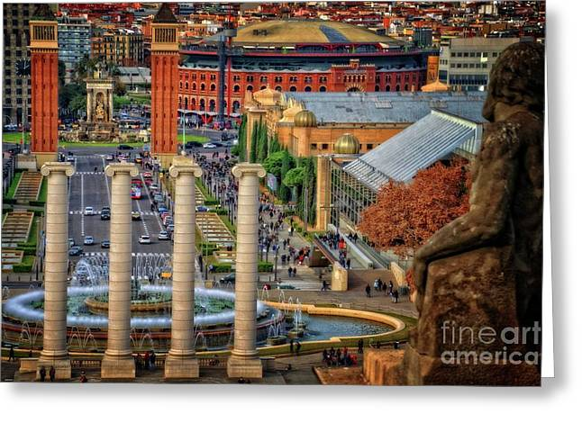 Barcelona From The National Art Museum Greeting Card by Mary Machare