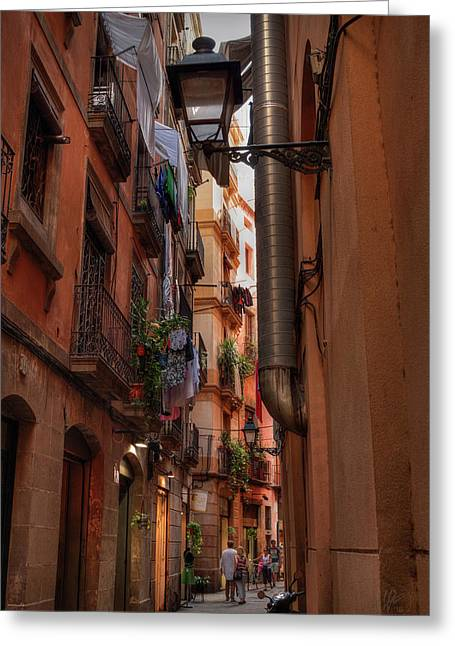 Greeting Card featuring the photograph Barcelona - Gothic Quarter 002 by Lance Vaughn