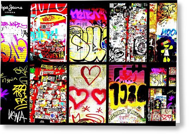 Barcelona Graffiti Wall  Greeting Card by Funkpix Photo Hunter