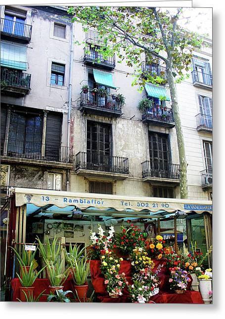 Barcelona Las Ramblas Greeting Card by Julie Palencia