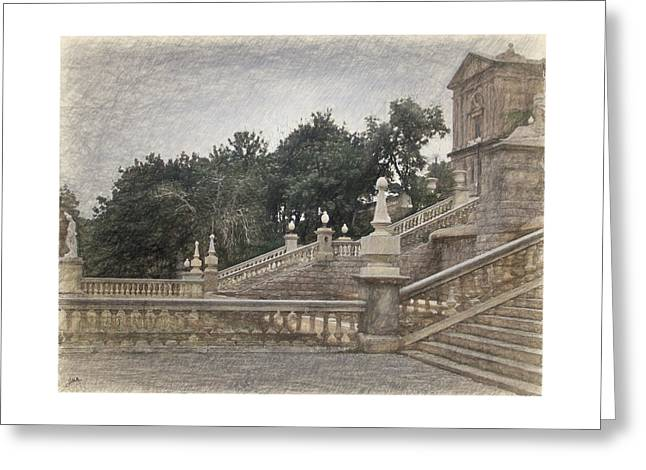 Barcelona, Montjuic Park Greeting Card by Joaquin Abella