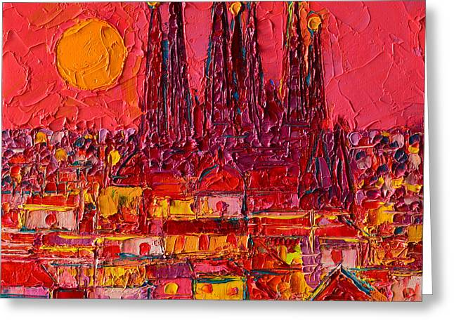 Barcelona Moon Over Sagrada Familia - Palette Knife Oil Painting By Ana Maria Edulescu Greeting Card