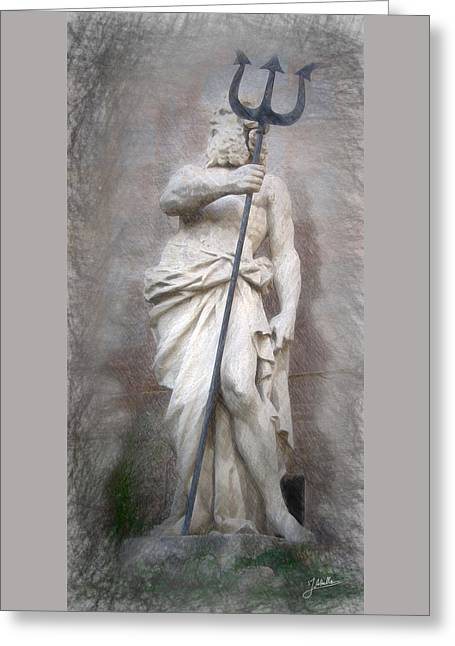 Barcelona - Neptune Statue Greeting Card by Joaquin Abella