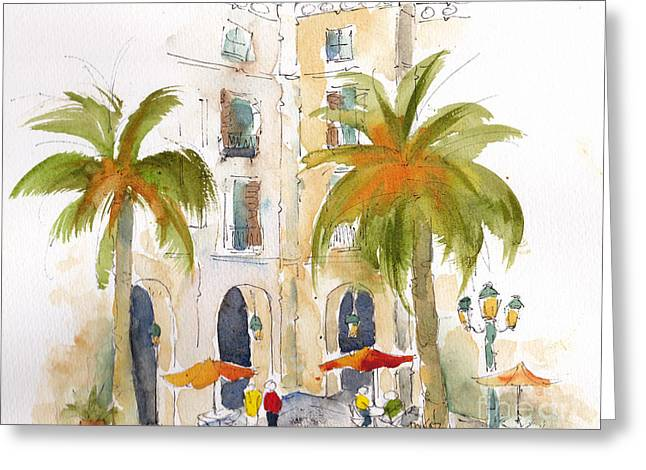 Barcelona Plaza Greeting Card by Pat Katz