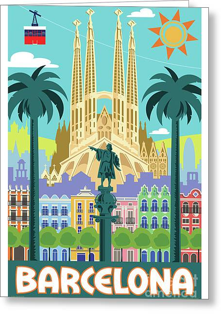 Barcelona Retro Travel Poster Greeting Card