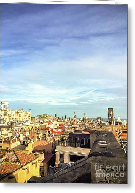 Greeting Card featuring the photograph Barcelona Rooftops by Colleen Kammerer