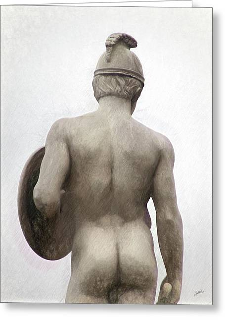 Barcelona - Sculpture Of The God Mars. Greeting Card by Joaquin Abella
