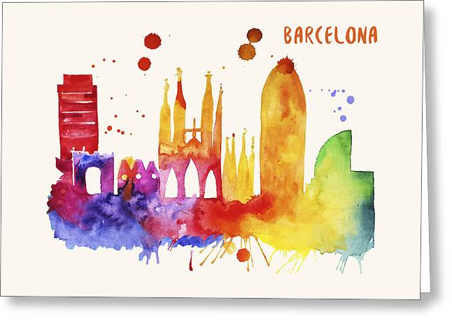 Barcelona Skyline Watercolor Poster - Cityscape Painting Artwork Greeting Card by Beautify My Walls