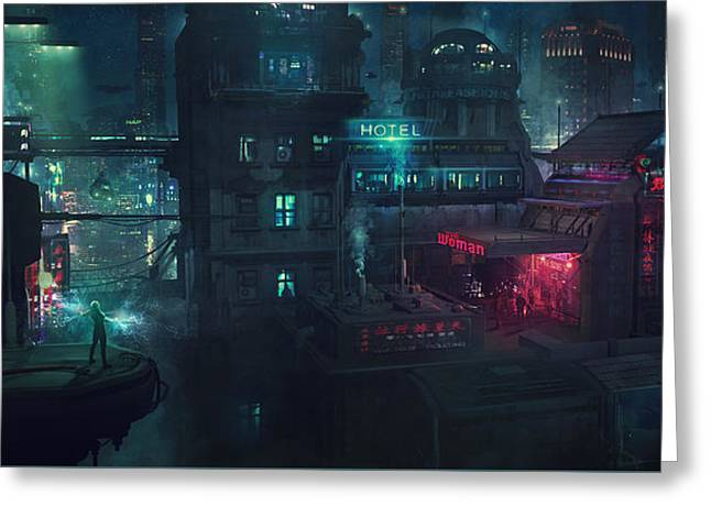 Barcelona Smoke And Neons Eixample Greeting Card by Guillem H Pongiluppi