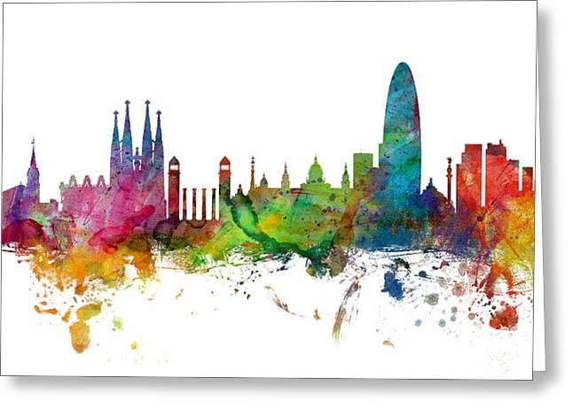 Barcelona Spain Skyline Panoramic Greeting Card