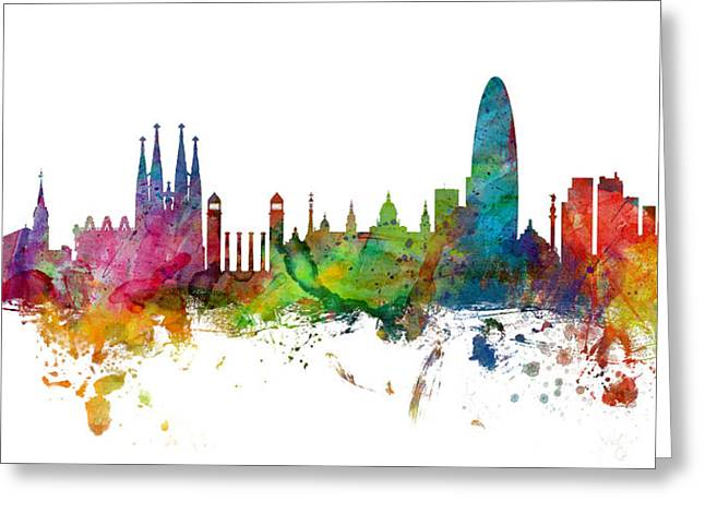 Barcelona Spain Skyline Panoramic Greeting Card by Michael Tompsett