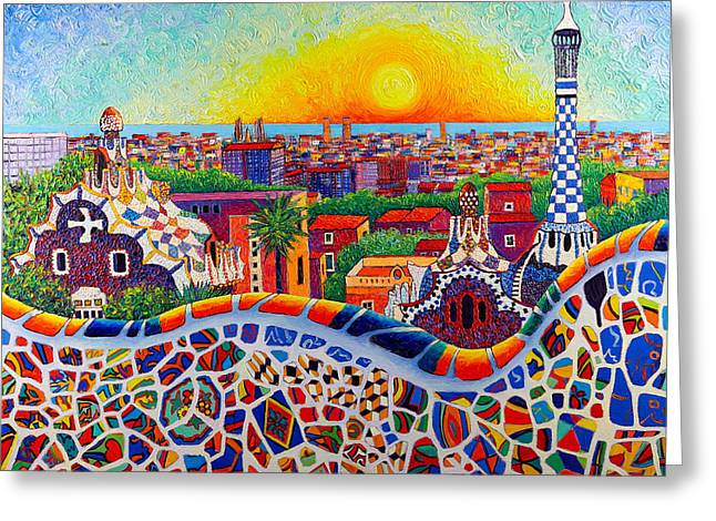 Barcelona Sunrise Colors From Park Guell Modern Impressionism Knife Oil Painting Ana Maria Edulescu Greeting Card