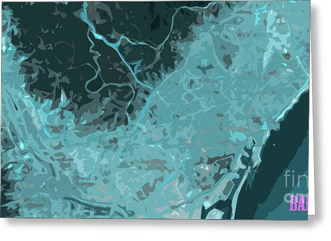Barcelona Traffic Abstract Blue Map Greeting Card