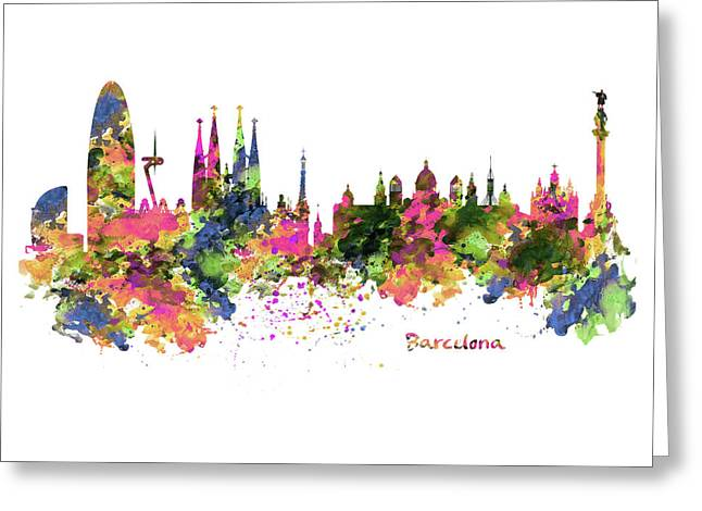 Barcelona Watercolor Skyline Greeting Card by Marian Voicu