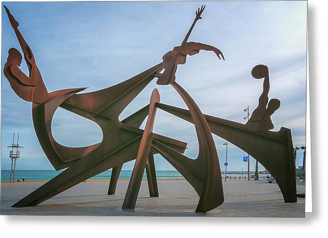 Barceloneta Olympic Sculpture Greeting Card by Joan Carroll