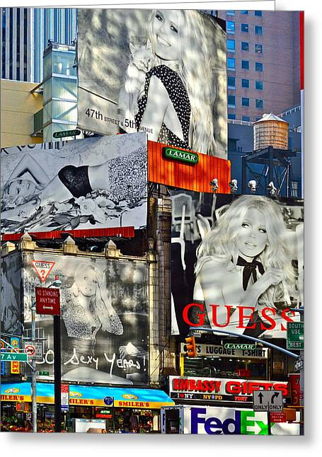 Bardot At Times Square Greeting Card by Gwyn Newcombe